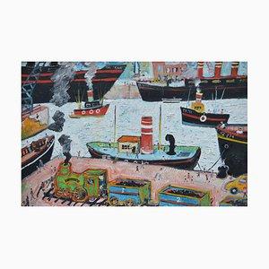 Simeon Stafford, Liverpool Docks, 2003, Peinture à l'Huile