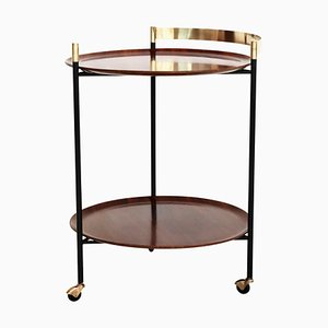 Italian Mid-Century Serving Cart Bar or Trolley in Brass with Teak Trays, 1960s