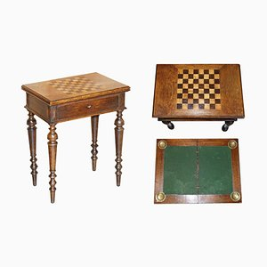 Victorian Chess Games Table with Fold Over Card Baize, 1880s