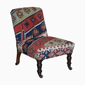 Antique Victorian Kilim Upholstered Side Occasional Chair, 1860s