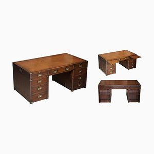Double Sided Brown Leather Pedestal Desk from Harrods Kennedy