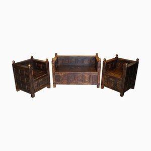 Antike Eichenholz und Eisen Sitzbänke, 1880er, 3er Set