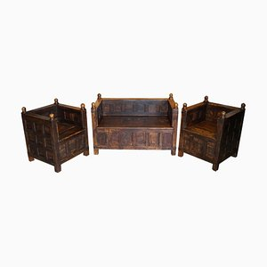 Antique Oak and Iron Bound Hall Seats, 1880s, Set of 3