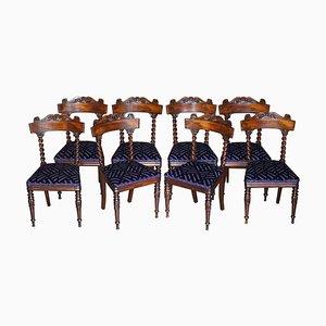 Antike viktorianische Esszimmerstühle aus Hartholz mit gedrehten Rückenlehnen, 8er Set