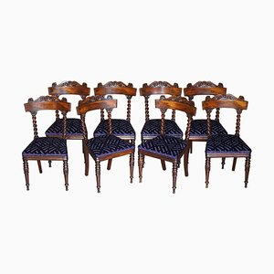 Antique Victorian Hardwood Dining Chairs with Barley Twist Backs, Set of 8