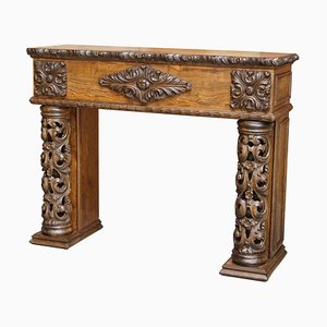 Antique Hand Carved Solid Elm Fireplace Column, 1880s