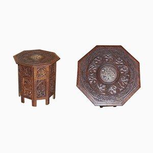 Antiker handgeschnitzter achteckiger Beistelltisch aus Hartholz