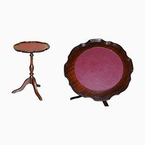 Vintage Hardwood Pie Crust Edge Leather Tripod Side Table