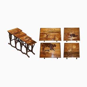 Rare Nest of Four Emile Galle Specimen Wood Tables Art Nouveau Cats Burr Walnut