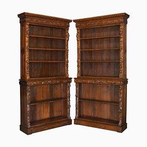 Antike englische Bücherregale aus geschnitzter Eiche, 1860er, 2er Set