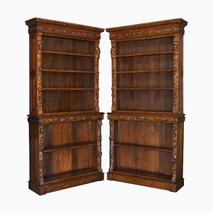 Antique English Carved Oak Library Bookcases, 1860s, Set of 2