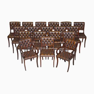 Vintage Chesterfield Hardwood Brown Leather Dining Chairs, Set of 18