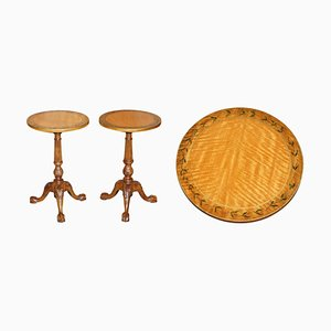 Antique Claw & Ball Satinwood Tripod Side Tables, Set of 2