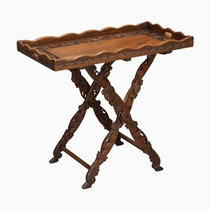 Antique Hand Carved Serving Tray Table, 1880s