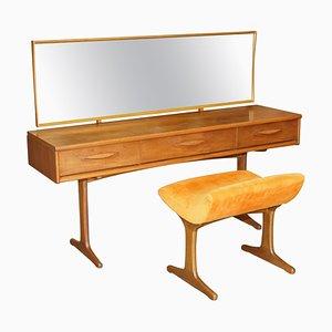 Mid-Century Teak Dressing Table & Stool, Set of 2