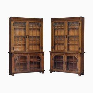 Große antike viktorianische Bücherregale aus Eiche mit Bleiglastüren, 2er Set