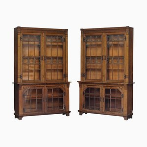 Large Antique Victorian Oak Library Bookcases with Leaded Glass Doors, Set of 2