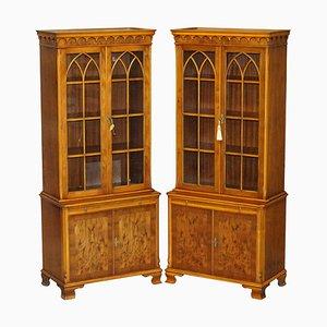 Vintage Burr Yew Wood Glazed Door Bookcase Cupboards, Set of 2