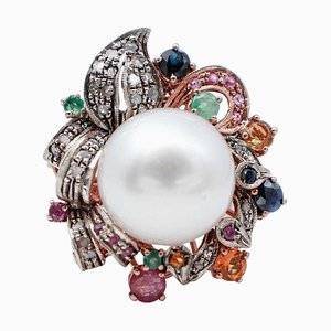 Multicolor Sapphires, Emeralds, Rubies, Diamonds, Pearl, 9kt Gold and Silver Ring