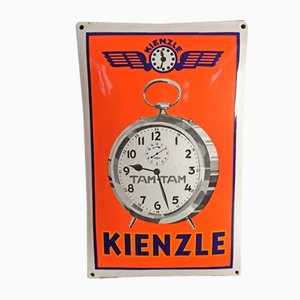 Insegna di orologi Kienzle smaltata, anni '30