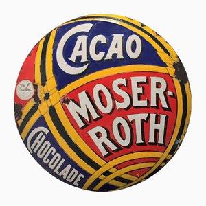Cartel Moser Roth Chocolate esmaltado, década de 1900