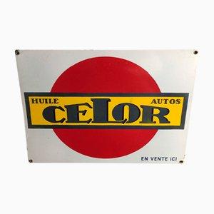 Enamel Sign Huile Pour Autos, 1940s