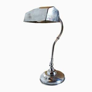 Lámpara de oficina francesa de metal cromado, años 40