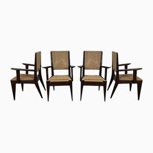 Mahogany Chairs, 1950s, Set of 4