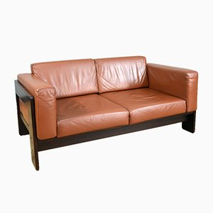 Bastiano Sofa in Cognac-Colored Leather by Afra and Tobia Scarpa for Gavina, Italy, 1960s