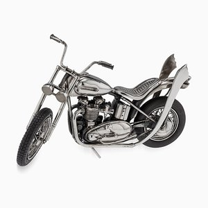 20th Century Italian Solid Silver Model of a Harley Davidson Motorcycle, 1970s