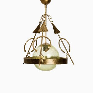 Wrought Iron Blown Glass Chandelier from Fabrica