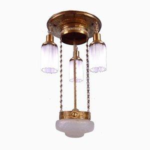 Art Nouveau 2-Tier Brass Ceiling Lamp, 1920s