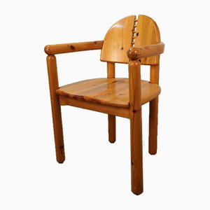 Vintage Armchair in Solid Pine by Rainer Daumiller, 1970s