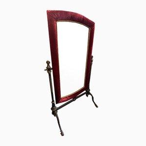 Large Floor Mirror with Velvet Frame