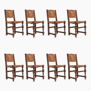 Französische Mid-Century Rush Esszimmerstühle, 10er Set