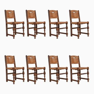 Mid-Century French Rush Dining Chairs, Set of 10
