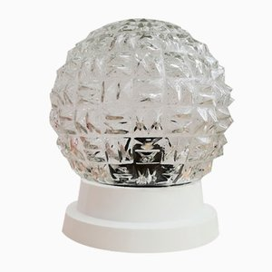 Small Art Deco Style Clear Glass Wall or Ceiling Lamp, 1970s