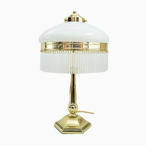 Art Deco Table Lamp with Opal Glass Shade and Glass Sticks, 1920s