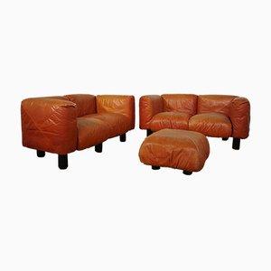 Sofas and Poufs in Orange Leather Marius & Marius by Mario Marenco for Arflex, 1970s, Set of 3