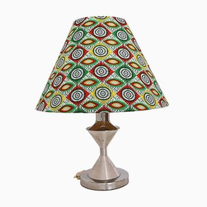Silver and Green Metal and Fabric Table Lamp with Kapulana Lampshade, 1990s