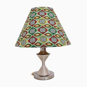 Tischlampe aus Metall & Stoff in Silber & Grün mit Kapulana Lampenschirm, 1990er