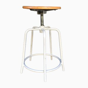 Adjustable Industrial Stool in White Wood and Iron, Italy, 1960s
