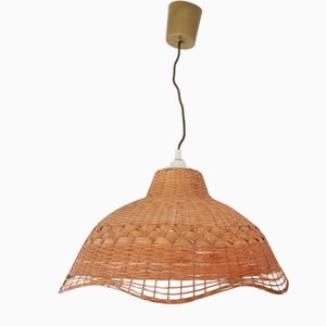 Large French Provincial Country Straw Hanging Lamp, 1990s