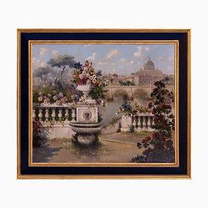 Antonio Celli, Giardino a Roma, Italia, óleo sobre lienzo