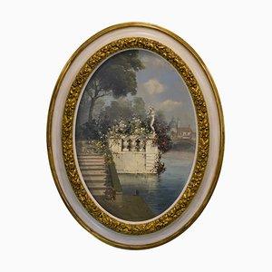 Antonio Celli, Giardino italiano, Italia, óleo sobre lienzo