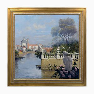 Antonio Celli, Giardino a Venezia, Italien, Öl auf Leinwand