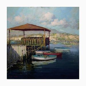 Renato Criscuolo, Barche a Sorrento, Öl auf Leinwand