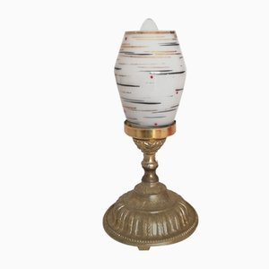 Small Art Nouveau French Gold and White Painted Glass Table Lamp, 1940s