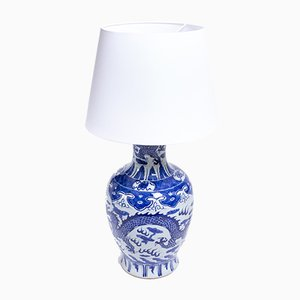 Large Porcelain Hand-Painted Table Lamp with Dragon Theme