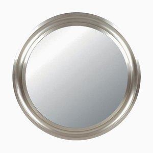 Specchio Narciso in ottone placcato in nichel e metallo nero di Sergio Mazza per Artemide, anni '70